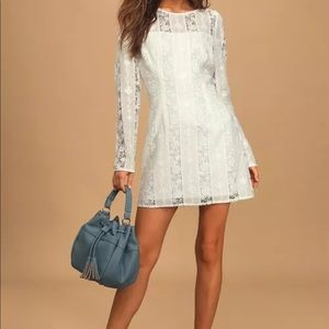 White Embroidered Lace Long Sleeve Mini Dress